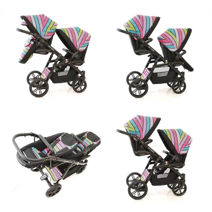 Carucior copii gemeni tandem 3 in 1 PJ STROLLER Lux Multicolor [16]