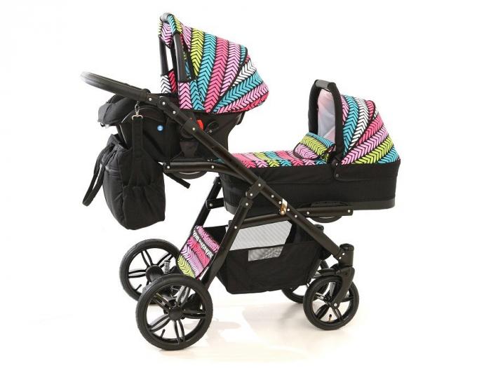Carucior copii gemeni tandem 3 in 1 PJ STROLLER Lux Multicolor [2]