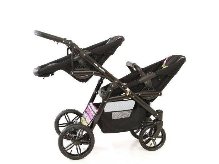 Carucior copii gemeni tandem 3 in 1 PJ STROLLER Lux Multicolor [8]