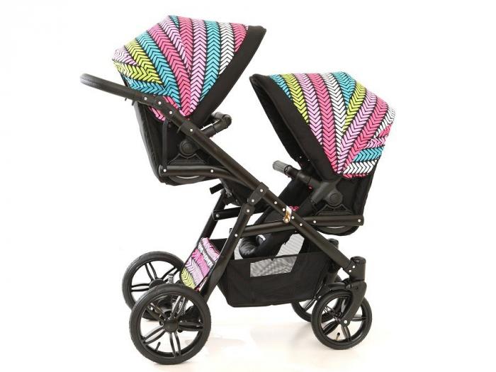 Carucior copii gemeni tandem 3 in 1 PJ STROLLER Lux Multicolor [6]