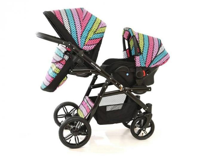 Carucior copii gemeni tandem 3 in 1 PJ STROLLER Lux Multicolor [13]