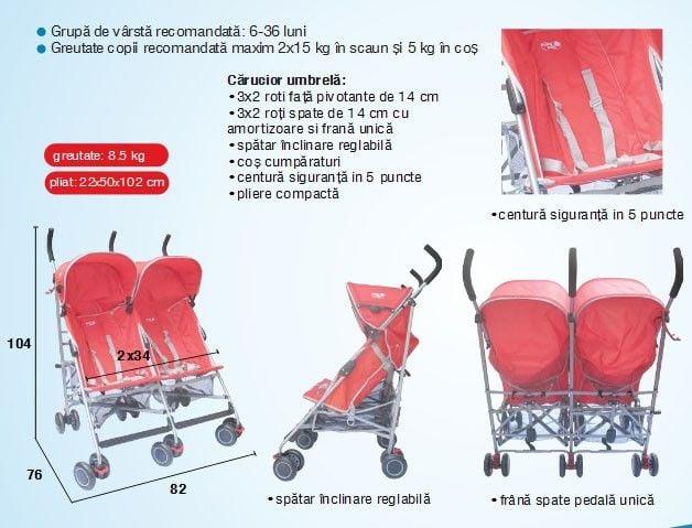 Carucior copii gemeni umbrela C-110 Primii Pasi