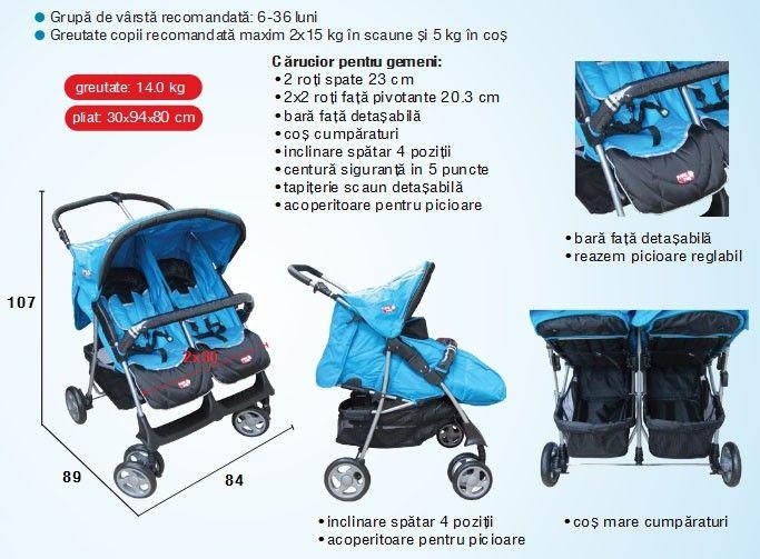 Carucior copii pentru gemeni H273T Primii Pasi 2