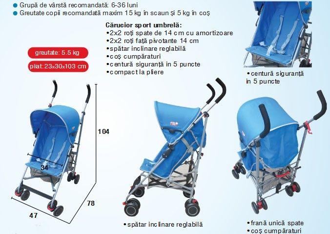 Carucior copii sport umbrela C-108 Primii Pasi 4