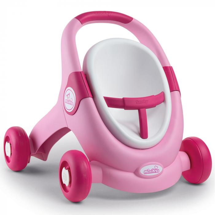 Carucior pentru papusi Smoby Minikiss 3 in 1 roz [0]