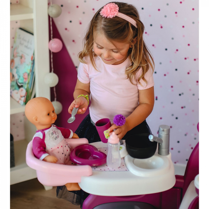 Centru de ingrijire pentru papusi Smoby Baby Nurse Doll`s Play Center mov cu 23 accesorii [5]