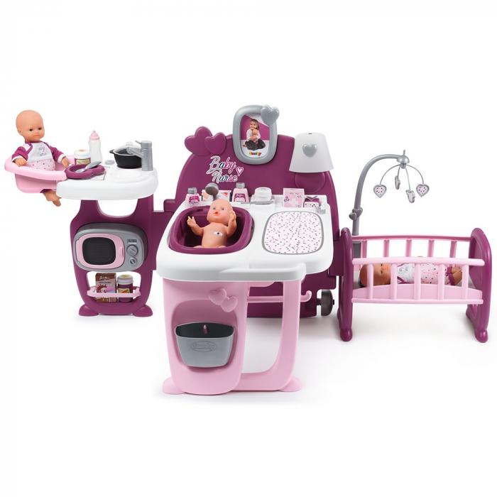 Centru de ingrijire pentru papusi Smoby Baby Nurse Doll`s Play Center mov cu 23 accesorii [0]
