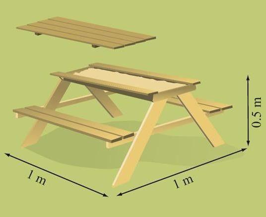 Masa cu bancute si lada de nisip Table Sable - Soulet 2