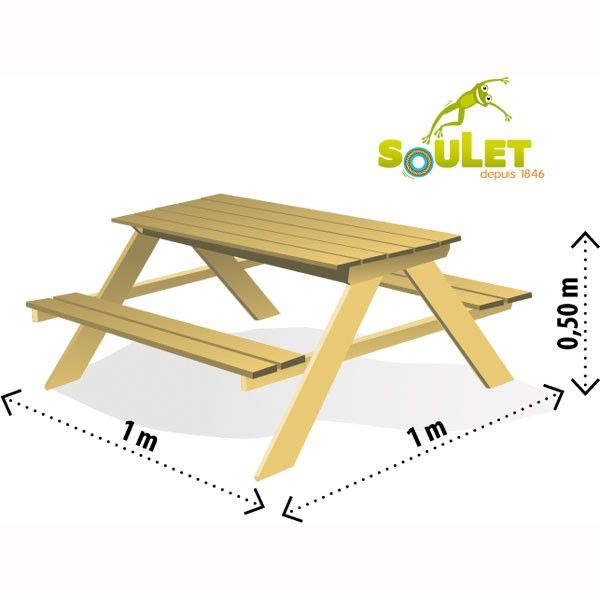 Masa cu bancute si lada de nisip Table Sable - Soulet 3