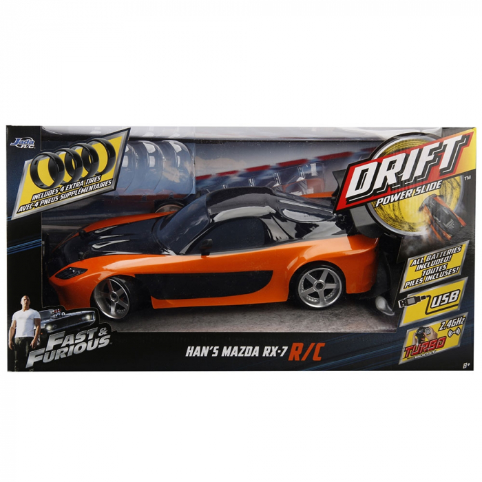 Masina Jada Toys Fast and Furious Mazda RX-7 Drift cu anvelope si telecomanda [14]