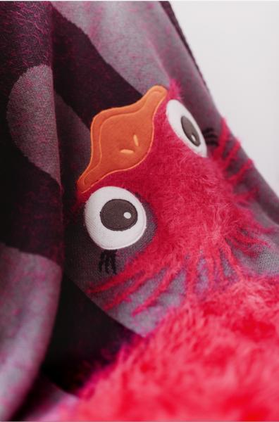 Paturica Tricotata din Bumbac Strut Roz cu Gri - Bizzi Growin [1]