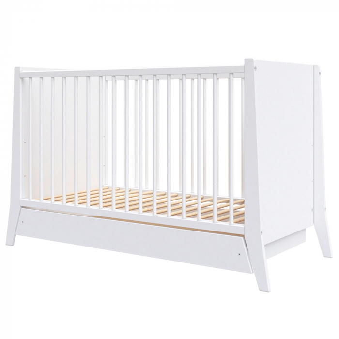 Patut copii din lemn Hubners Cosmo 120x60 cm alb cu sertar [0]