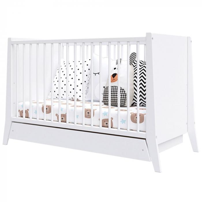 Patut copii din lemn Hubners Cosmo 120x60 cm alb cu sertar [1]