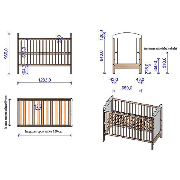 Patut copii din lemn Kamilla 120x60 cm venghe [1]