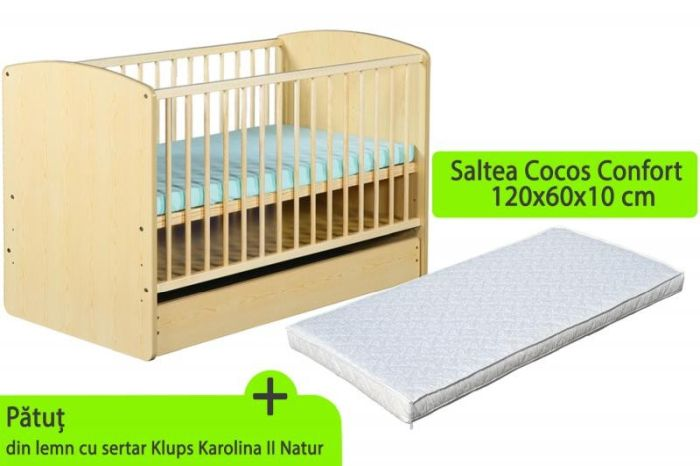 Patut cu sertar Klups KAROLINA II Natur + Saltea Cocos Confort 10 cm 0