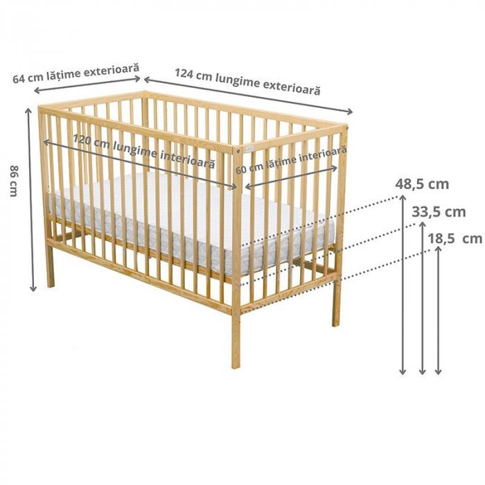 Patut din lemn Maks 120x60 cm Natur + Saltea 10 cm - BabyNeeds [2]