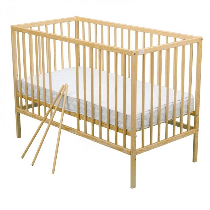 Patut din lemn Maks 120x60 cm Natur + Saltea 8 cm - BabyNeeds [4]