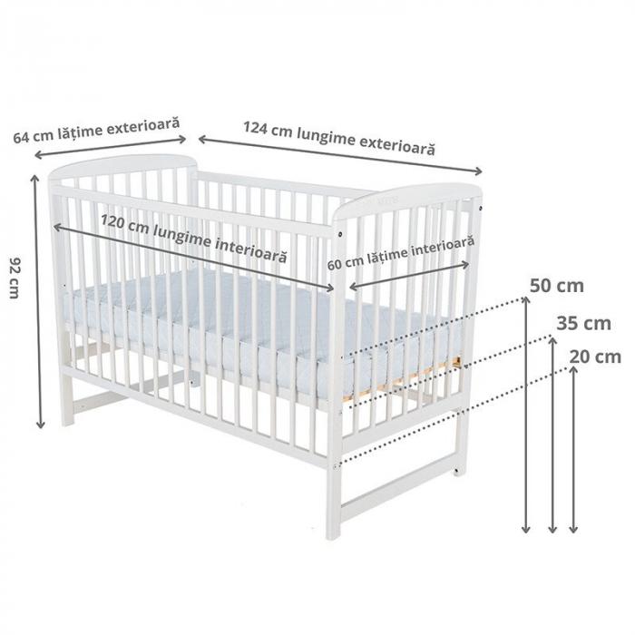 Patut din lemn Ola 120X60 cm Alb - BabyNeeds [2]