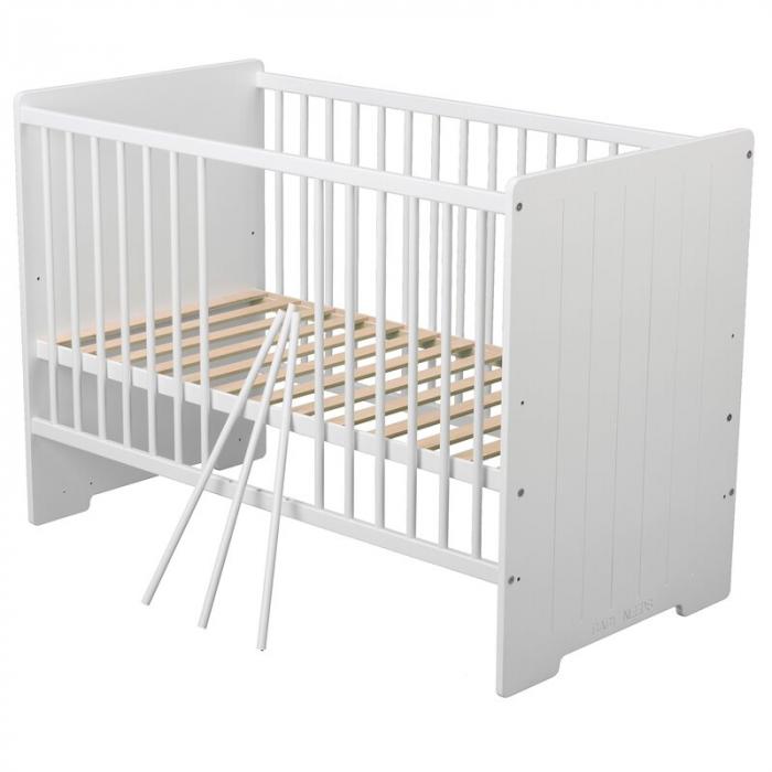 Patut din lemn Skandy Stripe 120x60 cm Alb + Saltea 10 cm - BabyNeeds [4]