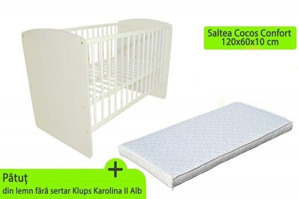 Patut fara sertar KLUPS KAROLINA II Alb + Saltea Cocos Confort 10 cm [0]