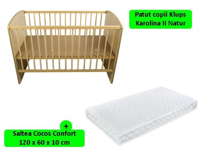 Patut fara sertar KLUPS KAROLINA II Natur + Saltea Cocos Confort
