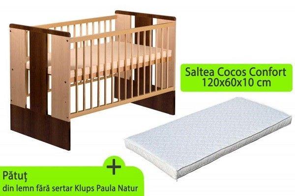 Patut fara sertar KLUPS Paula natur venghe + Saltea Confort 10(cm) 0