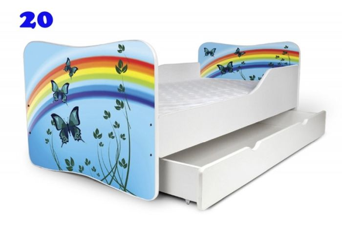 Patut Nobiko Butterfly 140x70 cu saltea si sertar C20 [0]