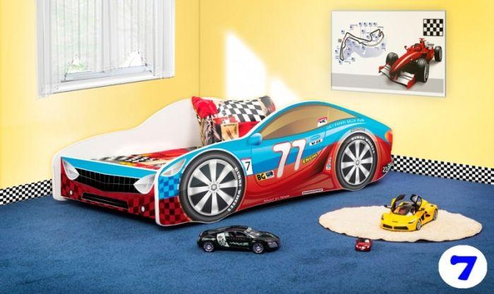 Patut Nobiko Drive 160 x 80 cu saltea rosu-albastru 7 [0]