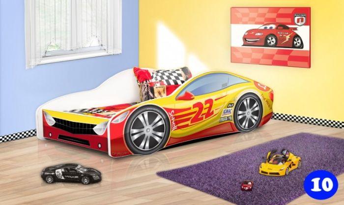 Patut Nobiko Drive 160 x 80 cu saltea rosu-galben 10 0