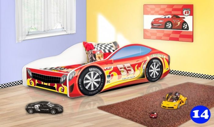 Patut Nobiko Drive 160 x 80 cu saltea rosu-galben 14 [0]