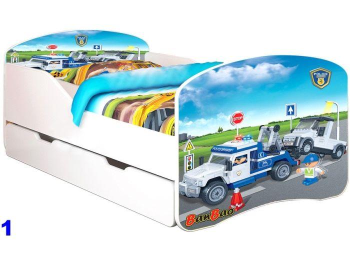 Patut Nobiko Rainbow Banbao Line 140 x 70 cu saltea si sertar Police 1 0