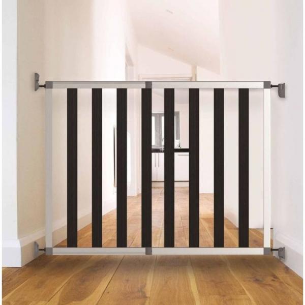 Poarta de siguranta extensibila din aluminiu si lemn Noma IKON NOIR, 62 - 104 cm, N94085 [3]