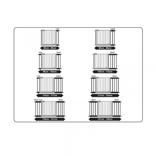 Poarta de siguranta Noma Easy Fit, presiune, 75-82 cm, metal alb, N93439 [5]