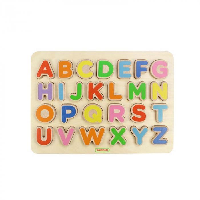 Puzzle 3D alfabet litere mari, din lemn, +3 ani, Masterkidz 0