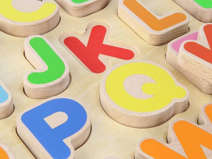 Puzzle 3D alfabet litere mari, din lemn, +3 ani, Masterkidz 1