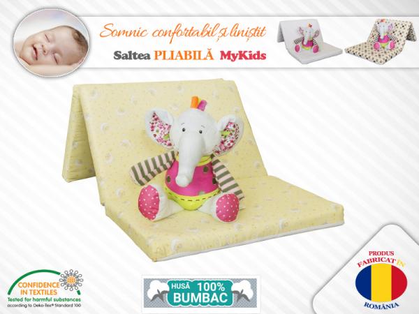 Saltea Pliabila Copii MyKids Spuma Poliuretanica (Burete) Galbena 0