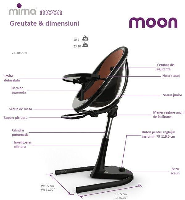 Scaun de masa copii Moon 2G Black 6-36 luni Mima [1]