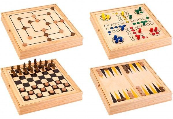 Set 5 in 1 jocuri de societate in cutie lemn Globo 37804 Sah Table Dame 0