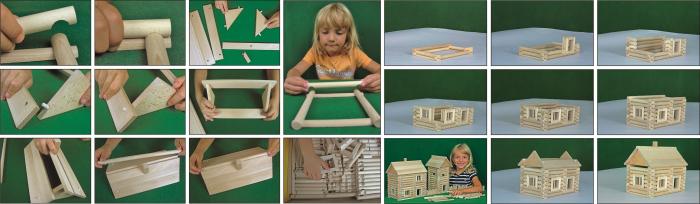 Set constructie arhitectura Vario Massive, 209 piese mari din lemn, Walachia 2