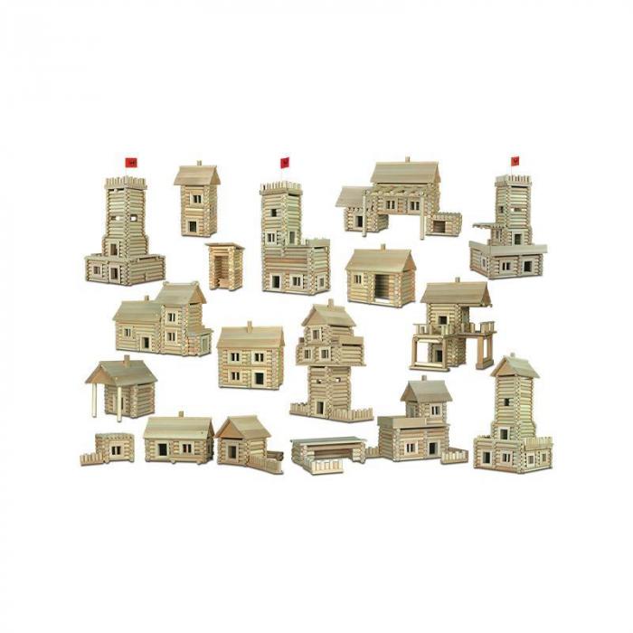 Set constructie arhitectura Vario Massive, 209 piese mari din lemn, Walachia 4