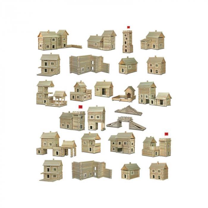 Set constructie arhitectura Vario Massive, 209 piese mari din lemn, Walachia 3