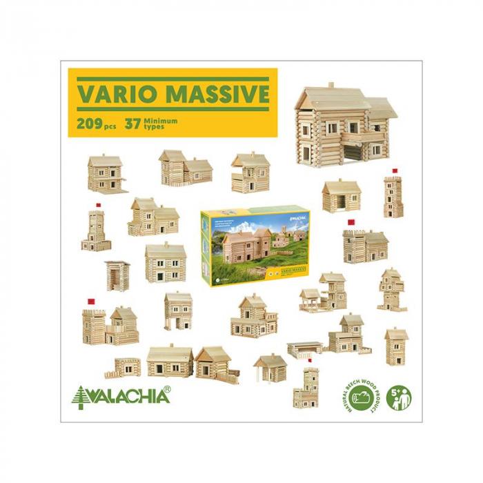 Set constructie arhitectura Vario Massive, 209 piese mari din lemn, Walachia 5
