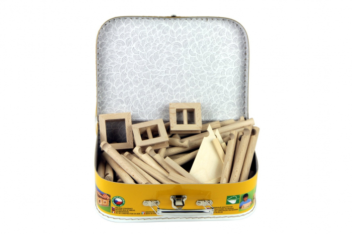 Set constructie arhitectura Vario Suitcase, 72 piese din lemn, Walachia 7