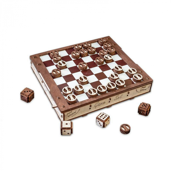 Set constructie cu mecanism Puzzle 3D GAMESET din lemn 620 piese @ EWA 1