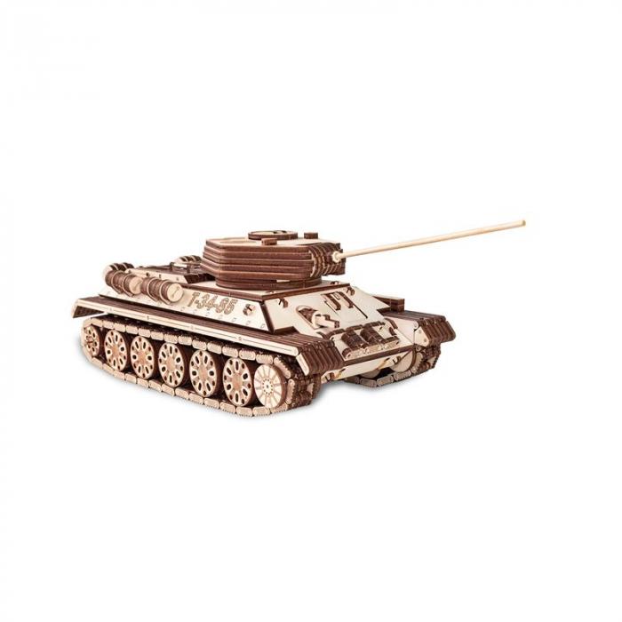Set constructie cu mecanism Puzzle 3D TANK T-34-85 din lemn 965 piese @ EWA 3