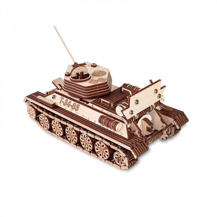 Set constructie cu mecanism Puzzle 3D TANK T-34-85 din lemn 965 piese @ EWA 4
