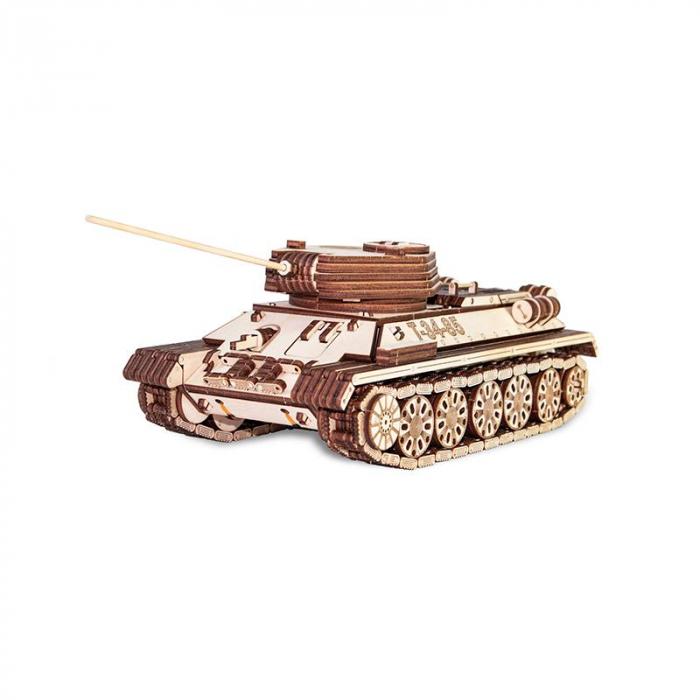 Set constructie cu mecanism Puzzle 3D TANK T-34-85 din lemn 965 piese @ EWA 7