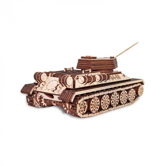 Set constructie cu mecanism Puzzle 3D TANK T-34-85 din lemn 965 piese @ EWA 1