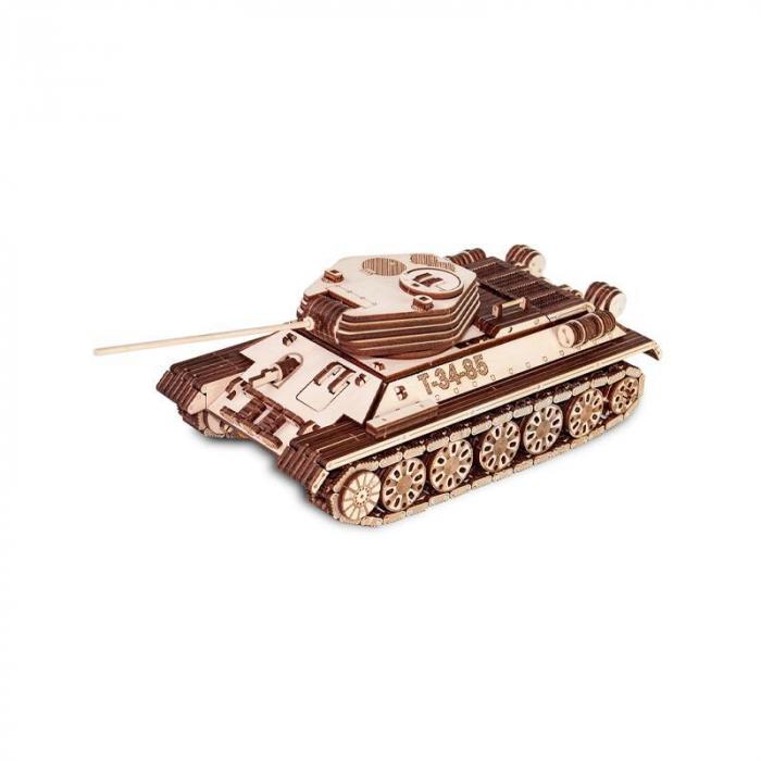 Set constructie cu mecanism Puzzle 3D TANK T-34-85 din lemn 965 piese @ EWA 6