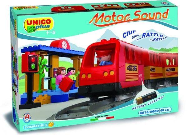 Set constructie Unico Plus Trenulet cu baterii 68 piese 0